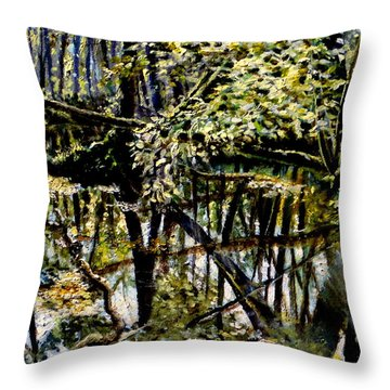 Lubianka-4 Mystery Of Swamp Forest Throw Pillow