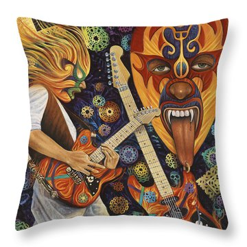 Lucha Rock Throw Pillow by Ricardo Chavez-Mendez