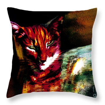 Lucifer Sam Tiger Cat Throw Pillow by Martin Howard