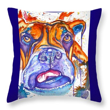 Lucille Boxer Blues  Throw Pillow