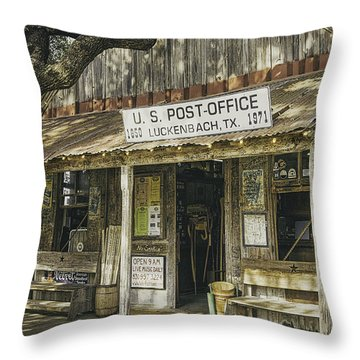 Luckenbach Throw Pillow by Scott Norris