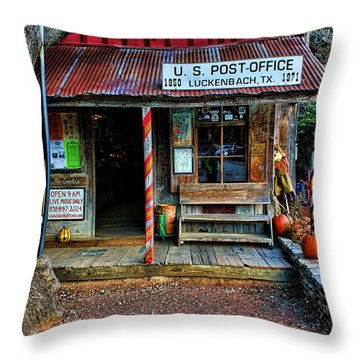 Luckenbach Texas Throw Pillow by Judy Vincent
