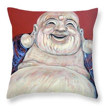 Lucky Buddha Throw Pillow by Tom Roderick