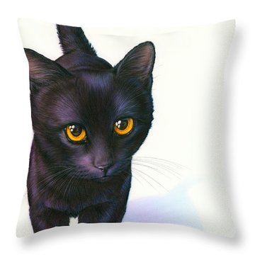 Lucky Cat Throw Pillow by Andrew Farley