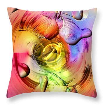 Throw Pillow featuring the digital art Lucky Colors By Nico Bielow by Nico Bielow