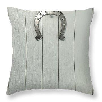 Lucky Horseshoe Entrance Throw Pillow by Allan Swart