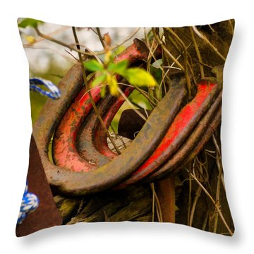 Lucky Horseshoes Throw Pillow