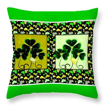 Lucky Irish Yellow Warblers Throw Pillow