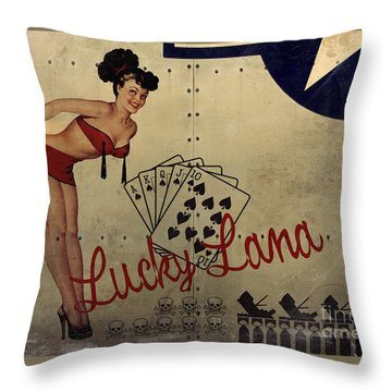 Lucky Lana Noseart Throw Pillow by Cinema Photography