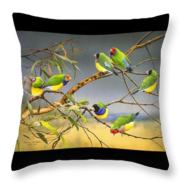 Lucky Seven - Gouldian Finches Throw Pillow by Frances McMahon