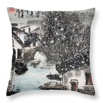 Lucky Snow  Throw Pillow by Yufeng Wang