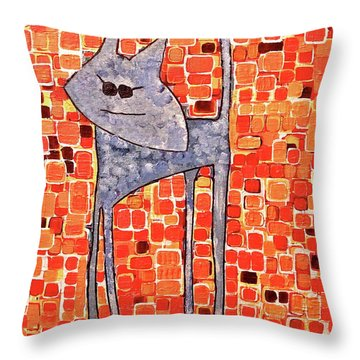 Throw Pillow featuring the painting Lucy Bleu by Donna Howard