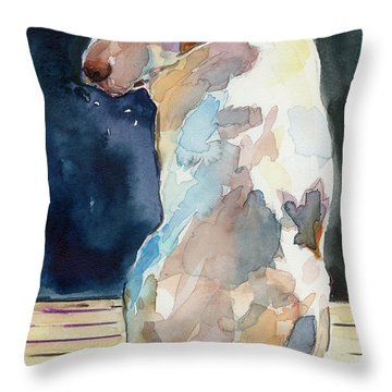 Lucy Moon Throw Pillow by Molly Poole