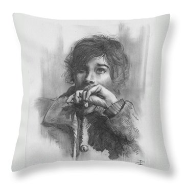 Throw Pillow featuring the drawing Lucy by Paul Davenport