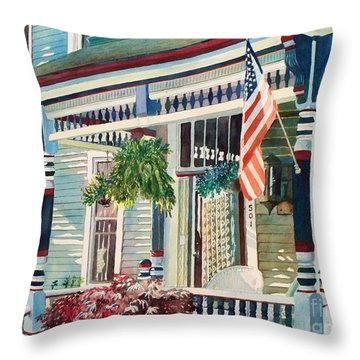 Throw Pillow featuring the painting Ludington House B And B by LeAnne Sowa