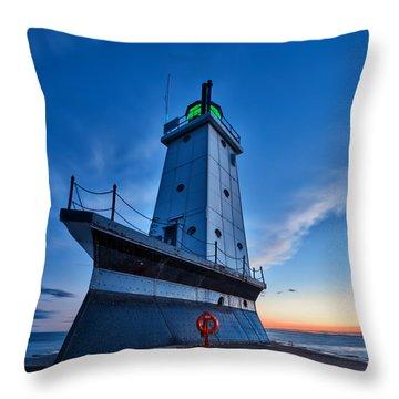 Throw Pillow featuring the photograph Ludington Lighthouse by Sebastian Musial