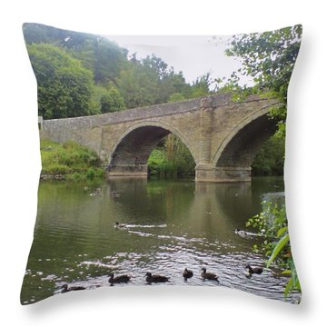 Throw Pillow featuring the photograph Ludlow Bridge by John Williams