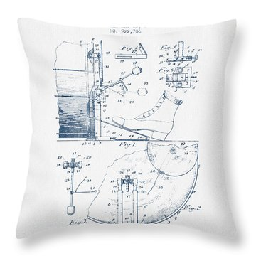 Ludwig Foot Pedal Patent Drawing From 1909 - Blue Ink Throw Pillow