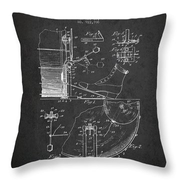 Ludwig Foot Pedal Patent Drawing From 1909 - Dark Throw Pillow