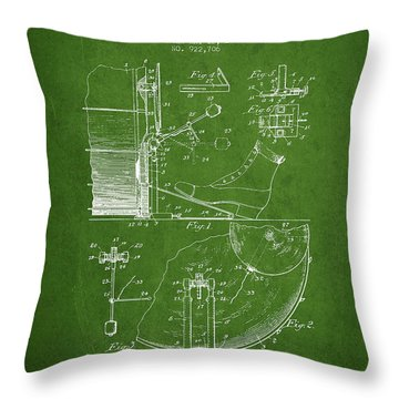 Ludwig Foot Pedal Patent Drawing From 1909 - Green Throw Pillow