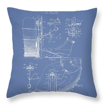 Ludwig Foot Pedal Patent Drawing From 1909 - Light Blue Throw Pillow