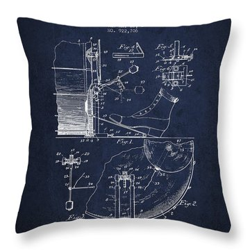 Ludwig Foot Pedal Patent Drawing From 1909 - Navy Blue Throw Pillow