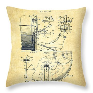 Ludwig Foot Pedal Patent Drawing From 1909 - Vintage Throw Pillow