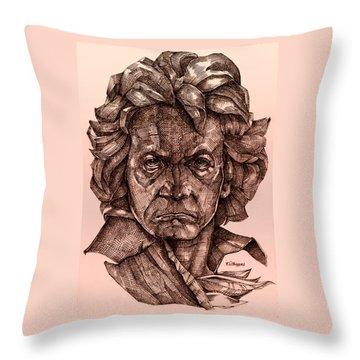 Ludwig Van Beethoven Throw Pillow by Derrick Higgins