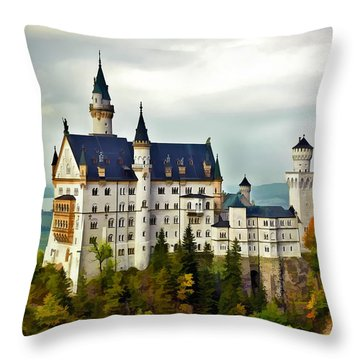 Neuschwanstein Castle In Bavaria Germany Throw Pillow