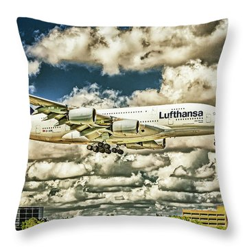 Lost In The Clouds Lufthansa A380 Named Hamburg-colorized Abstract Throw Pillow