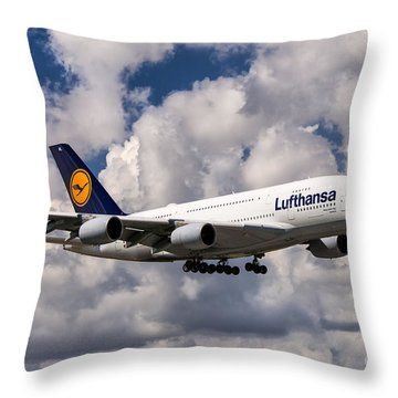 Lufthansa A380 Hamburg Throw Pillow