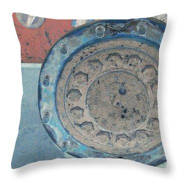 Lug Nut Wheel Right  Throw Pillow by Heather Kirk