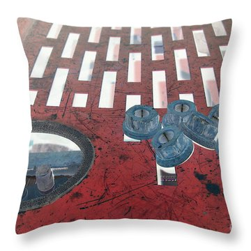 Lug Nuts On Grate And Circle H Throw Pillow by Heather Kirk