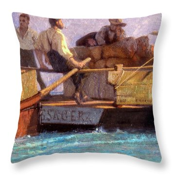 Luggage Boat Throw Pillow by F.L.D. Bocion