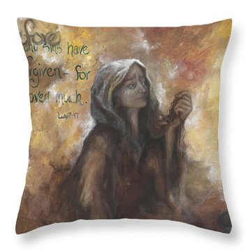 Luke 7 Verse 47 Forgiveness Throw Pillow