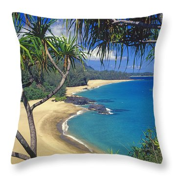 Lumahai Beach Throw Pillow