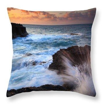 Lumahai Sea Explosion Throw Pillow by Mike  Dawson