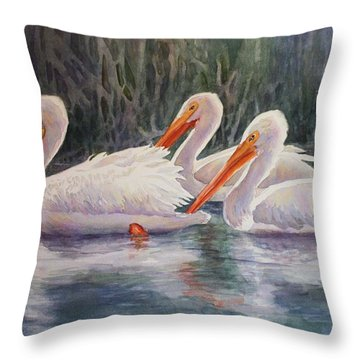 Luminous White Pelicans Throw Pillow by Roxanne Tobaison