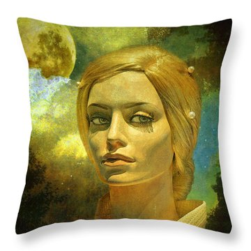 Luna In The Garden Of Evil Throw Pillow