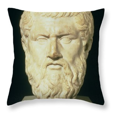 Luna Marble Head Of Plato, Roman, 1st Throw Pillow