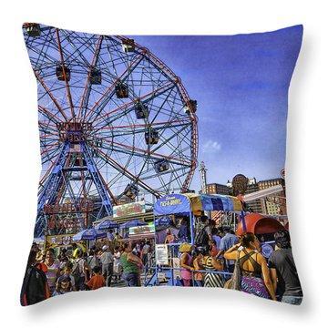 Luna Park 2013 - Coney Island - Brooklyn - New York Throw Pillow by Madeline Ellis