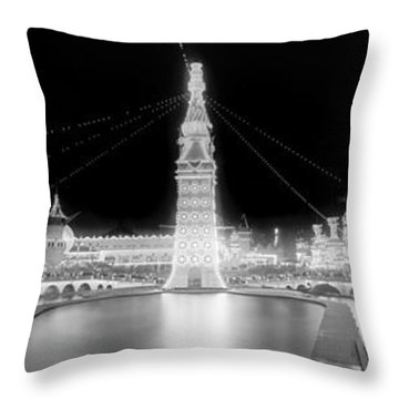 Luna Park At Night Coney Island Throw Pillow by Georgia Fowler