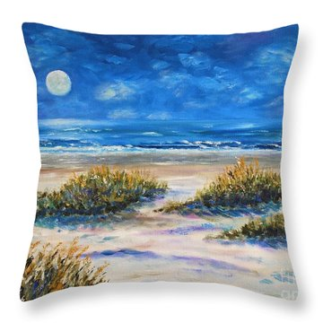 Lunar Beach Throw Pillow