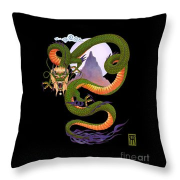 Lunar Chinese Dragon On Black Throw Pillow