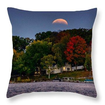 Lunar Eclipse Over Pewaukee Lake Throw Pillow by Randy Scherkenbach