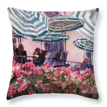 Lunch Under Umbrellas Throw Pillow by Kris Parins