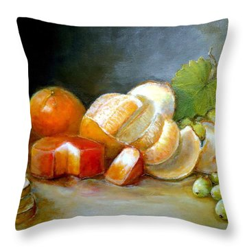 Throw Pillow featuring the painting Luncheon Delight - Still Life by Bernadette Krupa