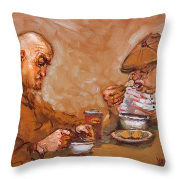 Lunchtime At Tim  Throw Pillow by Ylli Haruni