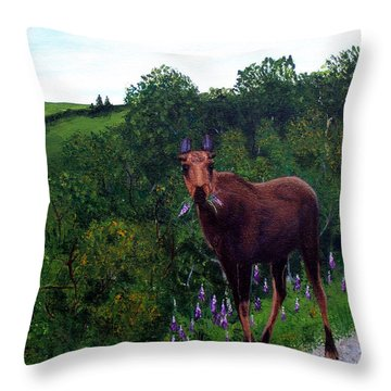 Throw Pillow featuring the painting Lupine Loving Moose by Barbara Griffin