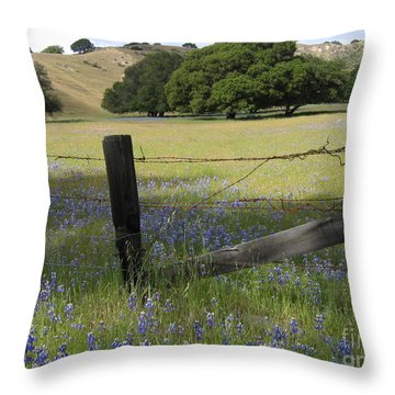 Lupines And Oaks Throw Pillow